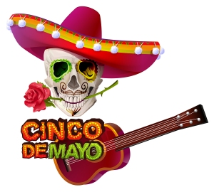 Cinco de Mayo. Mexican skull in sombrero holding rose teeth. Greeting card template. Isolated on white vector illustration